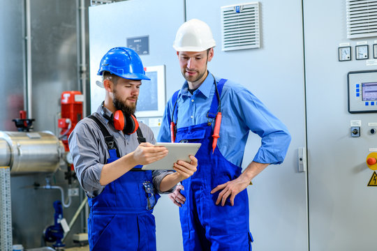 two worker in industrial plant