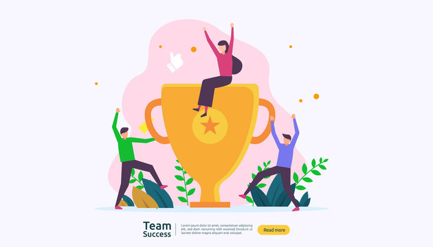 Team success with trophy cup. winning teamwork concept. Together achievement with people character for web landing page template, banner, presentation, social, poster, ad, promotion or print media
