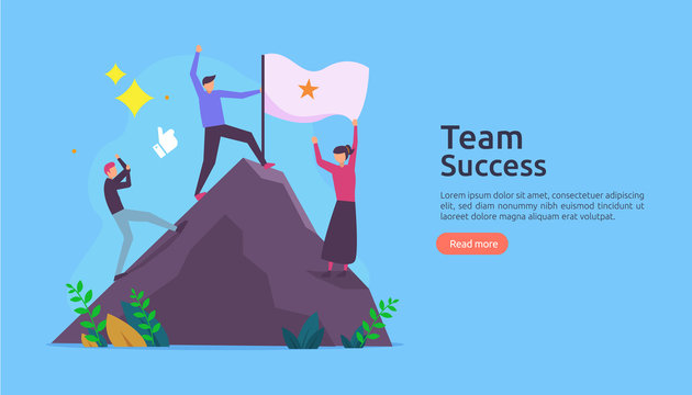 Team success with winning flag on on top of a mountain. teamwork concept with people character for web landing page template, banner, presentation, social, poster, ad, promotion or print media