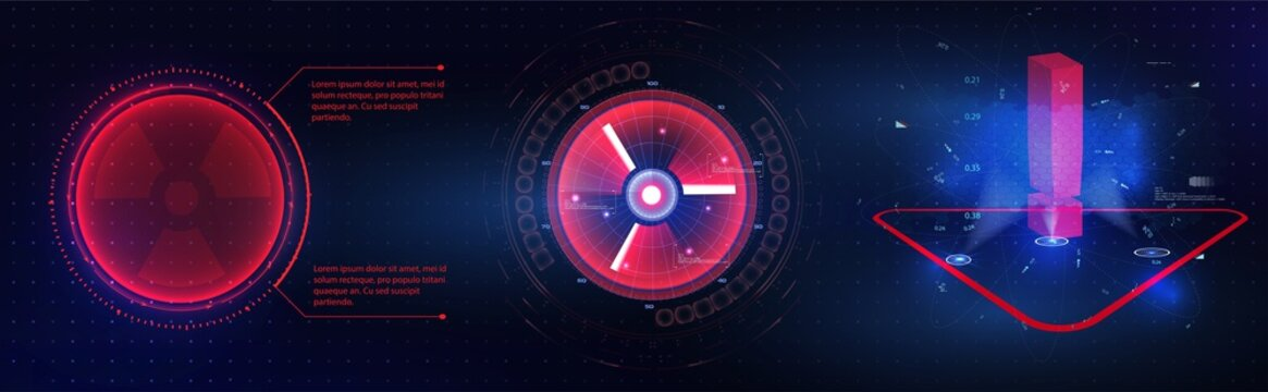 HUD GUI futuristic element. Set of Circle Abstract Digital Technology GUI Futuristic HUD Virtual Interface Elements Sci-Fi Modern User For Graphic Motion. Futuristic techno border design. Circle Frame