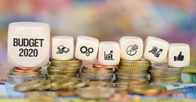 Budget 2020 / Münzenstapel mit Symbole