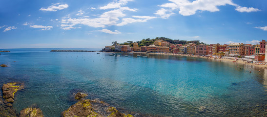 """View of the """"Baia del Silenzio"""" (Bay of Silence) in Sestri Levante, Ligurian coast, Genoa province, Italy."""