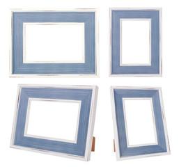 White & Blue Vintage Frame isolated on White background.