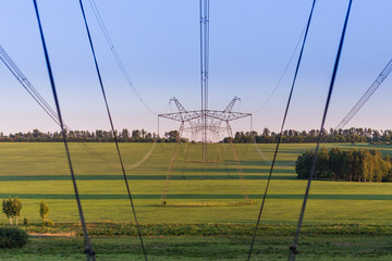 huge power line towers on field at summer evening