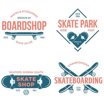 Skateboarding labels badges set. Skate shop logotypes. Design elements for posters, t-shirt prints, emblems.