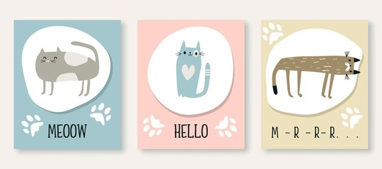 Cute cat set of simple cards. Templates with kittens for greetings, invitations, posters. Vector EPS 10.