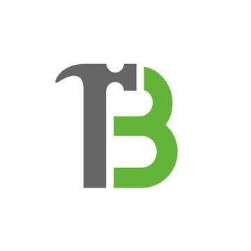 Letter B Hammer Logo, House Repair Logo, Home Improvement, Renovation Icon