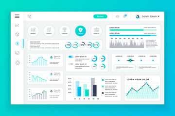 Dashboard admin panel vector design template with infographic elements, chart, diagram, info graphics. Website dashboard for ui and ux design web page. Vector illustration. Wall mural