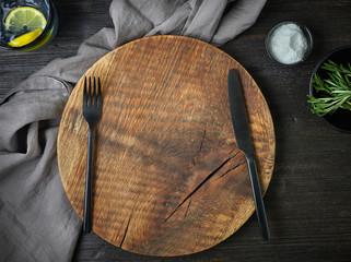 empty round wooden board
