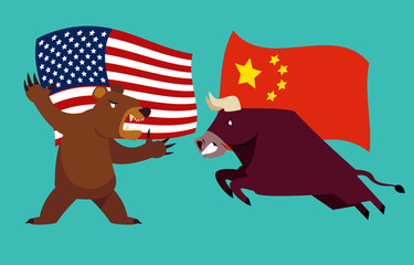 Concept of trade war between USA and China. bull and bear are fighting with america and china flag background. vector illustration