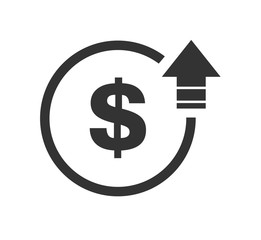 Cost symbol dollar increase icon. Vector symbol image isolated on background .