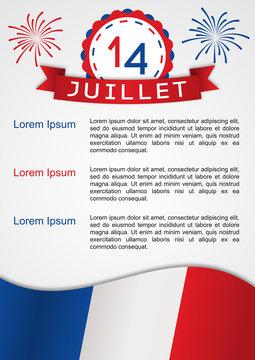 14 juillet - Infographie affiche ou brochure pour la fête nationale du 14 juillet en France