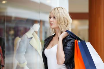 Girl looking at showcase