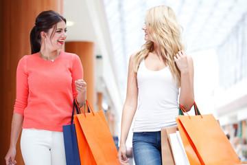Girls shopping in mall