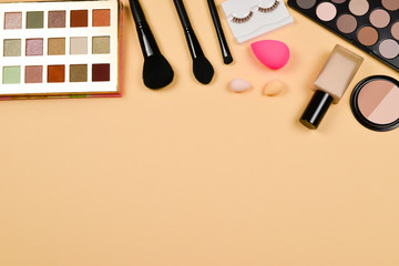 Professional trendy makeup products with cosmetic beauty products, foundation, lipstick,  eye...