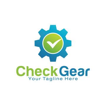 Check Gear logo design template
