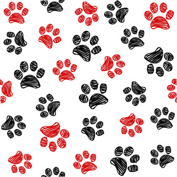 Seamless pattern with doodle dog paws. Black and red color animal print. Vector background.