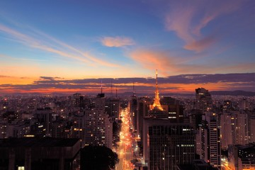 Aerial view of sunset in Sao Paulo city, Brazil. Great sunset scene. Fantastic landscape. Business city. Business travel. Business concept. Sunset collection. Colored sky. Dusk sky scenery.