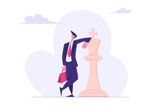 Self Confident Businessman Wearing Formal Suit with Brief Case in Hand Leaning on White Chess King Figure. Business Success, Leadership Metaphor, Strategic Thinking. Cartoon Flat Vector Illustration