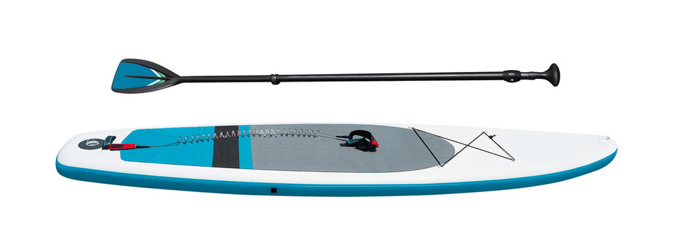 Side view of stand-up paddleboard with oar for SUP surfing isolated on white background. Sport equipment