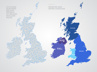 Telecommunications network of the British Isles, Abstract United Kingdom map polygonal geographic map, Political map of Great Britain and Ireland