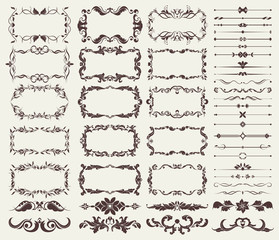 Vector set of decorative elements for borders, frames, dividers, for design