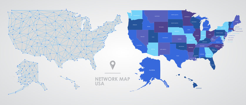 Telecommunications network of the USA, Abstract mesh polygonal geographic map, detailed map of the states of America