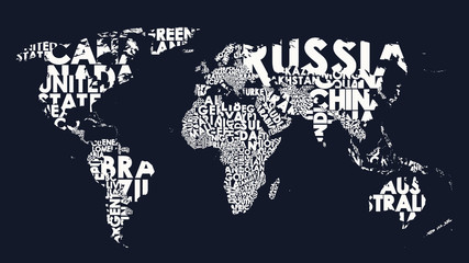 World map text composition of country names, typographical black and white vector illustration