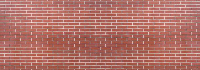 Modern red brick wall background, wide panorama of masonry