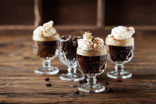 coffee cocktail with whipped cream