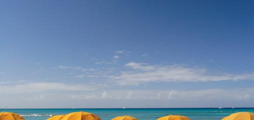 Wall Murals Caribbean 青空と海の海岸のパラソル