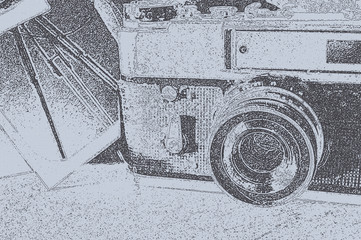 old camera in sketchy graphic style