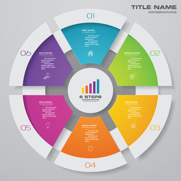 6 steps cycle chart infographics elements for data presentation. EPS 10.