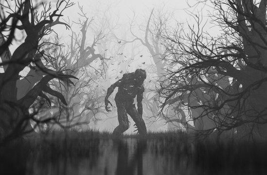 Monster in creepy forest,3d illustration