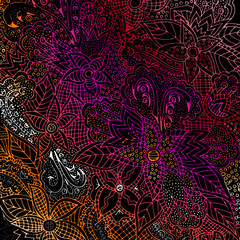 Abstract floral pattern, drawn by hand, circles, lines, leaves