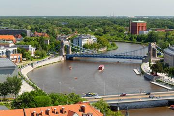 Wroclaw.  Top view of the river and Grunwaldzki bridge