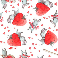 Seamless pattern with watercolor cute white rabbits, hearts and strawberries. Good kids room interior wallpaper, fabric textile, wrap packaging paper, web site background design.