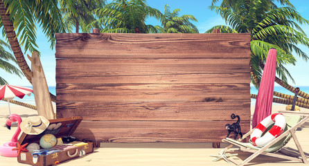 Empty wooden board on the beach, Summer time background 3D Rendering Wall mural