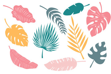 Collection Tropical leaves. Set of palm leaves silhouettes. Trendy Summer Tropical Leaves
