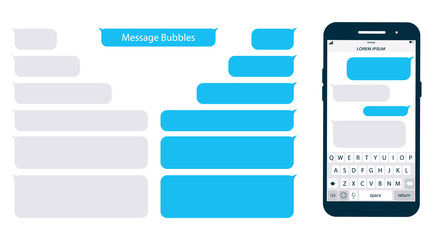 Smartphone, chatting sms app template bubbles. Place your own text to the message clouds. Social network messenger page template. Chat app template with mobile keyboard. Message Flat Bubbles Fototapete