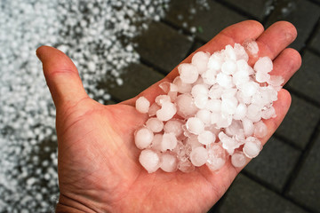 ice hail on hand