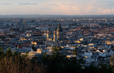 Wall Mural - Panoramic Budapest city view in Hungary at summer in sunset