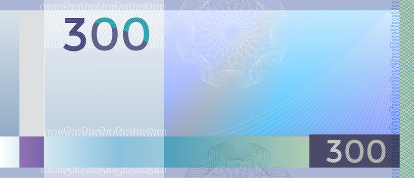 Voucher template banknote 300 with guilloche pattern watermarks and border. Blue background banknote, gift voucher, coupon, diploma, money design, currency, note. Cheque, reward certificate concept