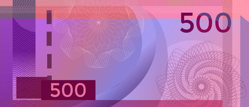 Voucher banknote 500 template with guilloche pattern watermarks and border. Purple background banknote, gift voucher, coupon, diploma, money design, currency, note, check, cheque, reward. certificate