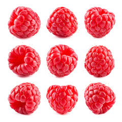 Raspberry isolate. Red berry isolated on white background. Isolated raspberries set