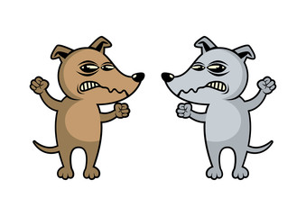 Two Angry Dogs vector illustration. Rabid Dog icon. Brown Dog cartoon character. Angry Dog isolated on a white background. Gray and brown dog clip art