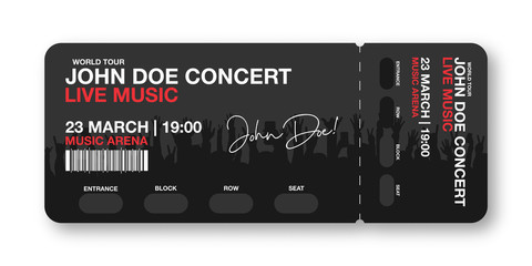 Concert ticket template. Concert, party, disco or festival ticket design template with people crowd on background. Entrance to the event