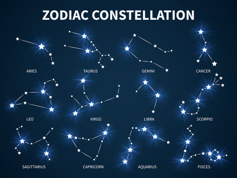 Zodiac constellation. Zodiacal mystic astrology vector symbols with glowing stars on durck blue background
