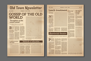 Vintage newspaper. News articles newsprint magazine old design. Brochure newspaper pages. Paper retro journal vector grunge template Fototapete