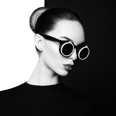 Canvas Prints womenART beautiful young woman with black sunglasses
